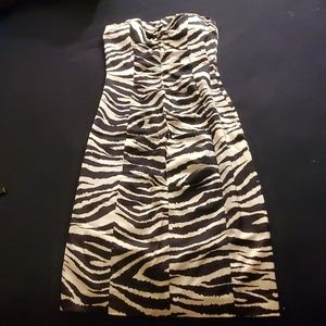 Cache Original Satin Zebra Ruched Strapless Midi